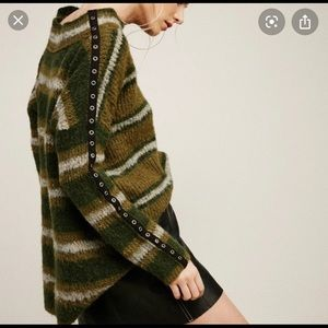 Free People Sid Stripe Grommet Sleeve Sweater